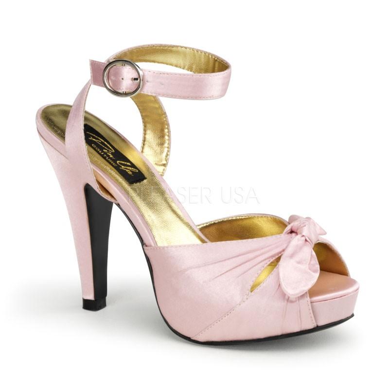 Pinup Couture Bettie-04 Sexy Retro High Heels Plateau Schleifchen Sandaletten Satin Baby Pink 35-42