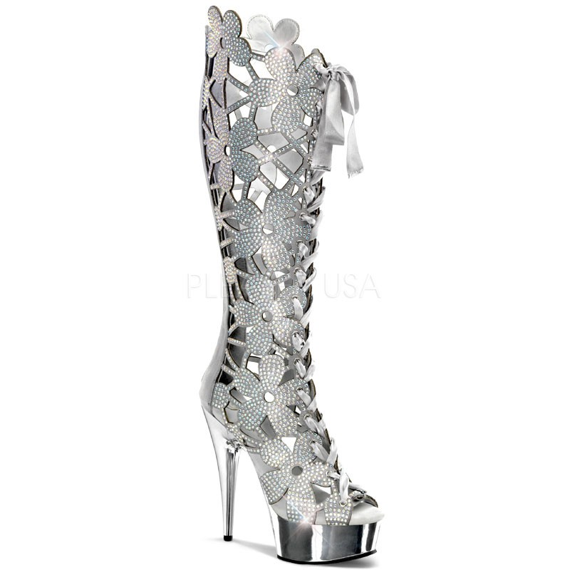 Pleaser Delight-600-46 - Sexy Plateau High Heels Silber Chrom Strass Stiefel - Gr. 38