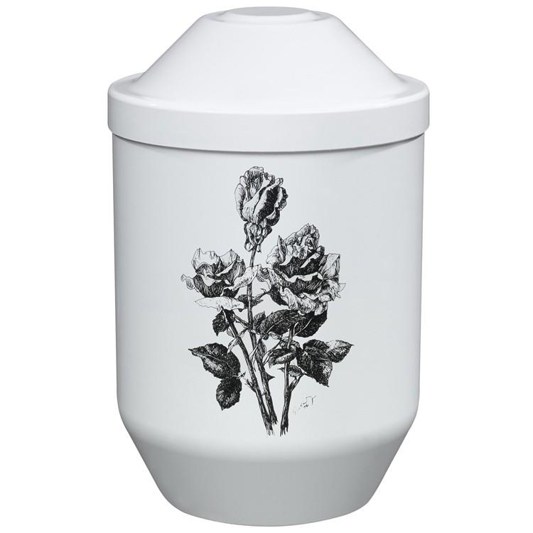 Bio-Tec³-Urne mit Motiv: ROSEN (schwarz) weiß: 282 mm, ø = 190 mm