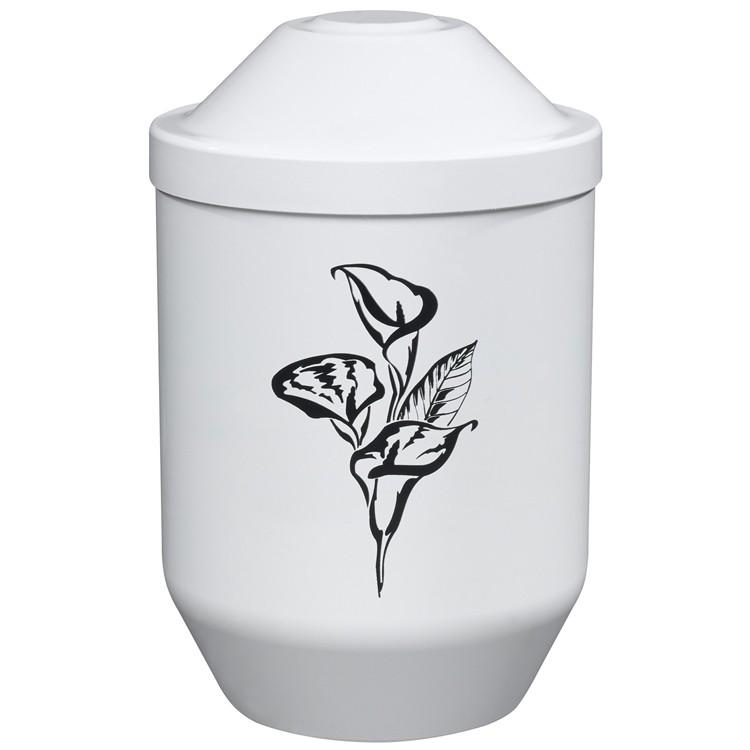 Bio-Tec³-Urne mit Motiv: CALLA (schwarz) weiß: 282 mm, ø = 190 mm