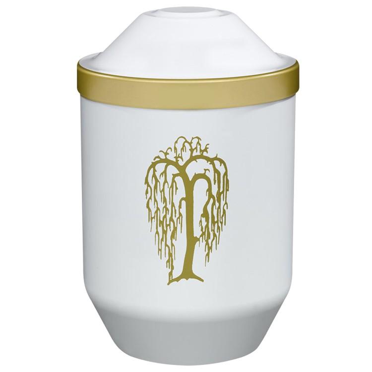 Bio-Tec³-Urne mit Motiv: TRAUERWEIDE (gold) , weiß mit Golddeckelrand: 282 mm, ø = 190 mm