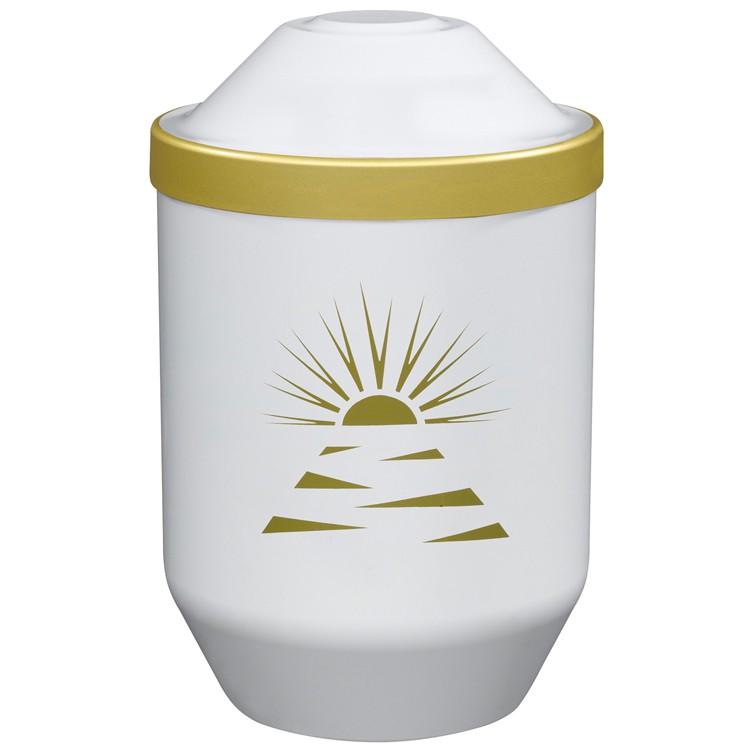 Bio-Tec³-Urne mit Motiv: ABENDSONNE (gold) , weiß mit Golddeckelrand: 282 mm, ø = 190 mm