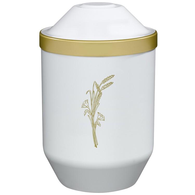 Bio-Tec³-Urne mit Motiv: ÄHRE (gold) , weiß mit Golddeckelrand: 282 mm, ø = 190 mm