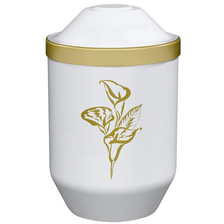 Bio-Tec³-Urne mit Motiv: CALLA (gold) , weiß mit Golddeckelrand: 282 mm, ø = 190 mm