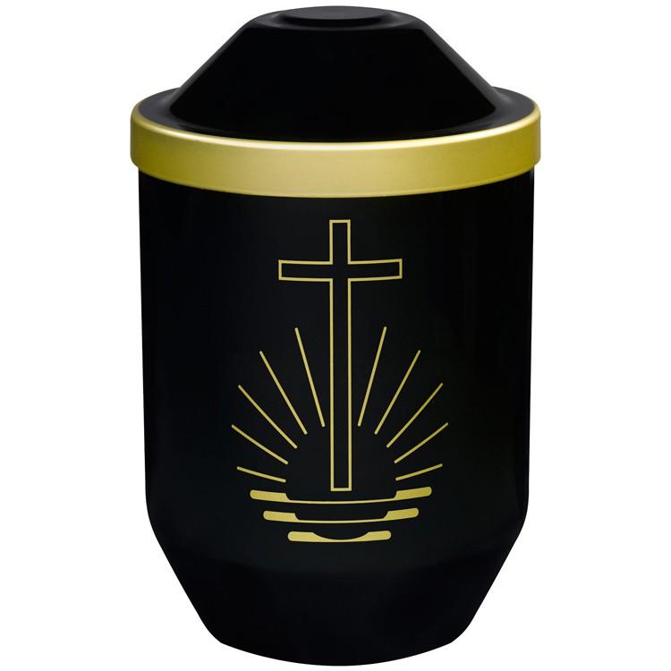 Bio-Tec³-Urne mit Motiv: KREUZ (gold) , schwarz mit Golddeckelrand: 282 mm, ø = 190 mm