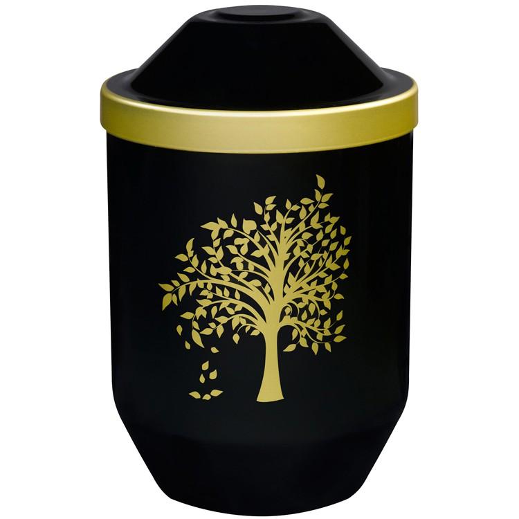Bio-Tec³-Urne mit Motiv: LEBENSBAUM (gold) , schwarz mit Golddeckelrand: 282 mm, ø = 190 mm