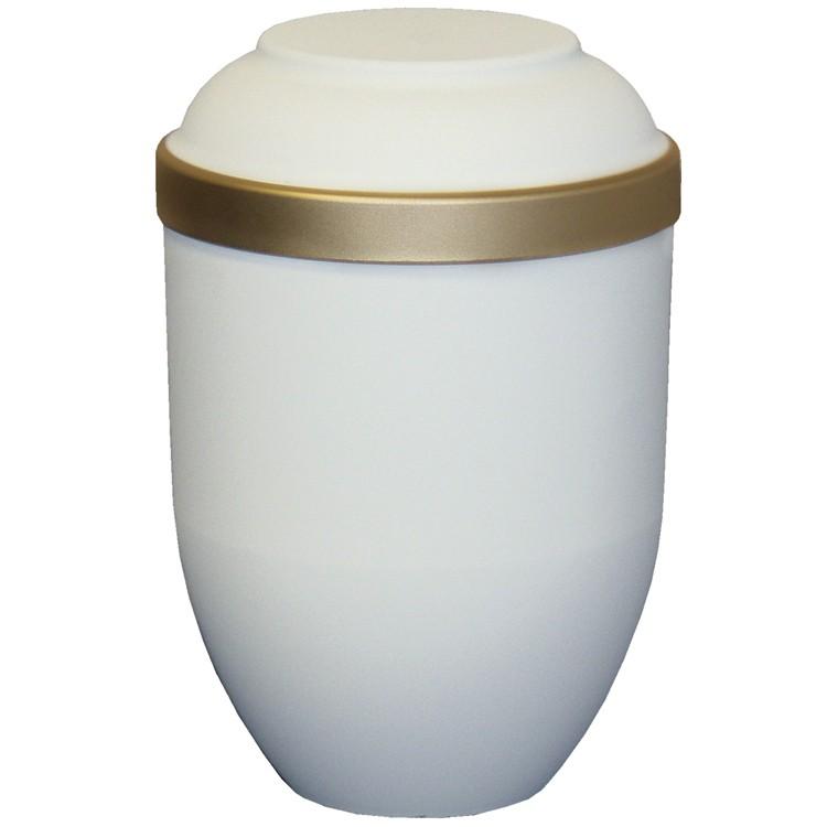 Bio-Tec³-Urne FACILE mattfarben sandbeige mit Golddeckelrand: 280 mm, ø = 185 mm