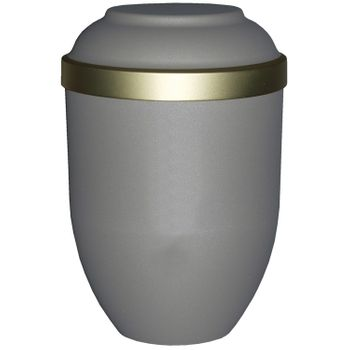 Bio-Tec³-Urne FACILE mattfarben teak mit Golddeckelrand, 280 mm, ø = 185 mm