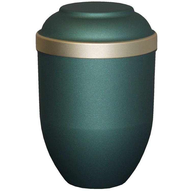 Bio-Tec³-Urne FACILE mattfarben grün mit Golddeckelrand: 280 mm, ø = 185 mm