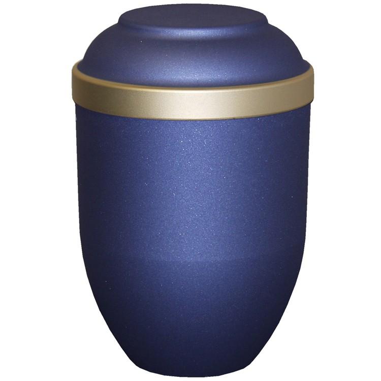 Bio-Tec³-Urne FACILE mattfarben blau mit Golddeckelrand: 280 mm, ø = 185 mm
