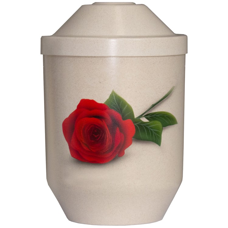 Bio-Tec³-Urne ROTE ROSE natur: 282 mm, ø = 190 mm