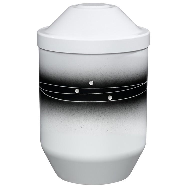 Bio-Tec³-Urne weiß mit schwarzem Zierdekor und Strasssteinen: 282 mm, ø = 190 mm