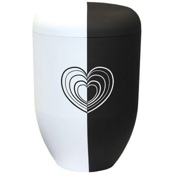 Bio-Tec³-Urne black & white collection mit Motiv: UNENDLICHE LIEBE : 290 mm, ø = 180 mm 001