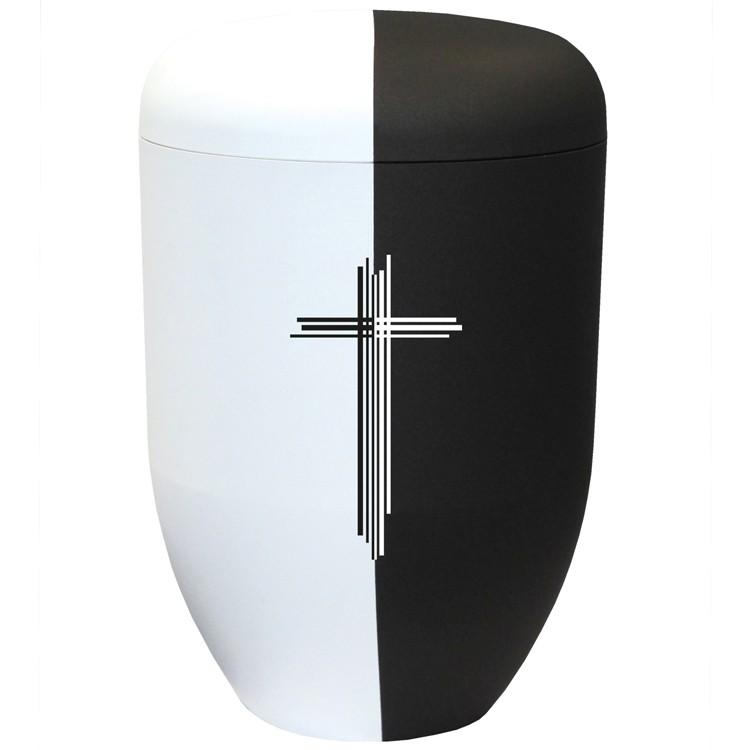 Bio-Tec³-Urne black & white collection mit Motiv: LEBEN & TOD : 290 mm, ø = 180 mm