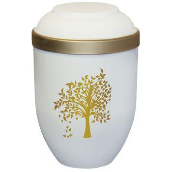 Bio-Tec³-Urne mit Motiv: BAUM sandbeige matt mit Golddeckelrand: 280 mm, ø = 185 mm 001