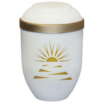 Bio-Tec³-Urne mit Motiv: SONNENSTRAHLEN sandbeige matt mit Golddeckelrand: 280 mm, ø = 185 mm 001