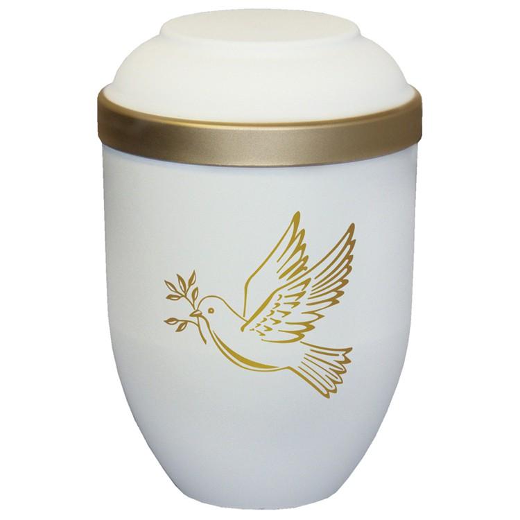 Bio-Tec³-Urne mit Motiv: TAUBE sandbeige matt mit Golddeckelrand: 280 mm, ø = 185 mm