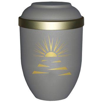 Bio-Tec³-Urne mit Motiv: SONNENSTRAHLEN teak matt mit Golddeckelrand: 280 mm, ø = 185 mm 001