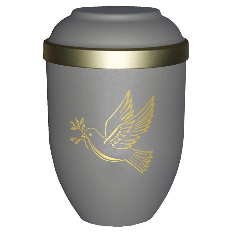 Bio-Tec³-Urne mit Motiv: TAUBE teak matt mit Golddeckelrand: 280 mm, ø = 185 mm