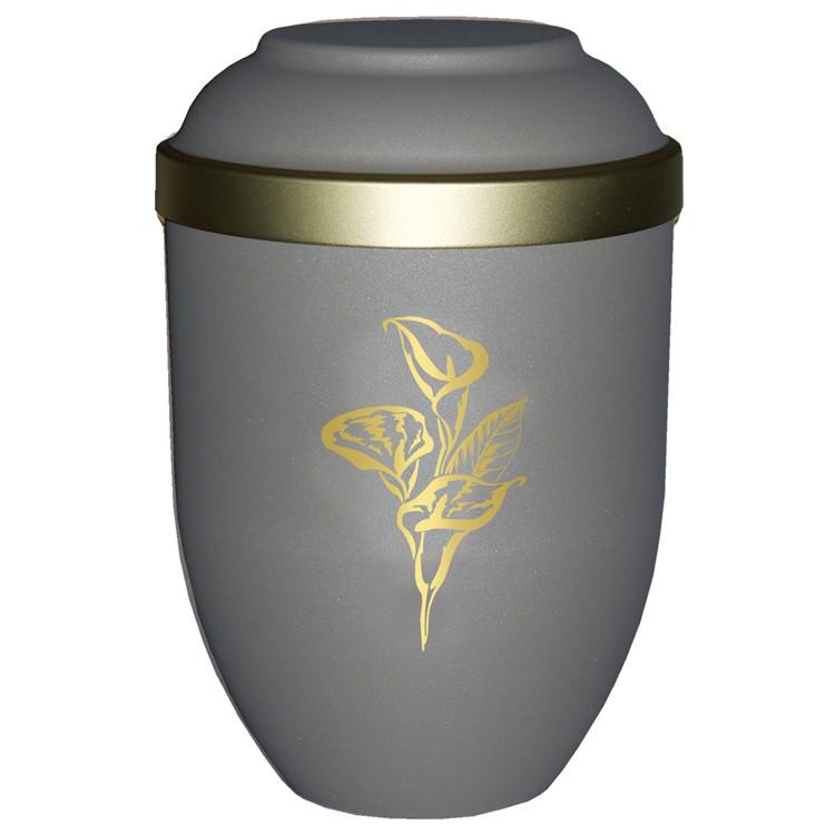 Bio-Tec³-Urne mit Motiv: CALLA teak matt mit Golddeckelrand: 280 mm, ø = 185 mm