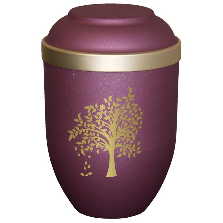 Bio-Tec³-Urne mit Motiv: BAUM brombeer matt mit Golddeckelrand: 280 mm, ø = 185 mm