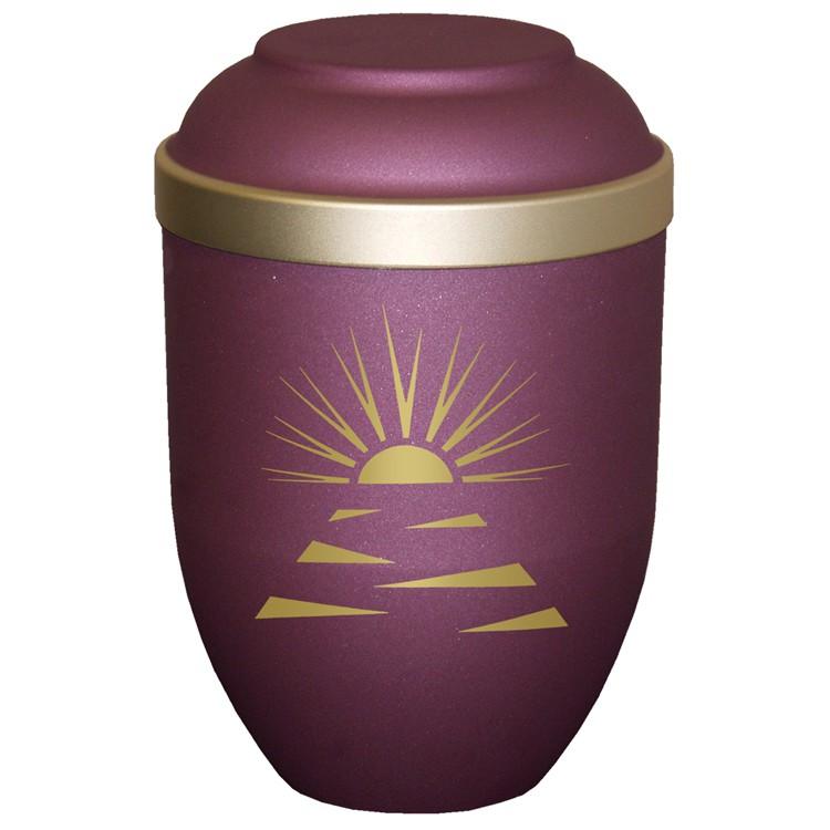 Bio-Tec³-Urne mit Motiv: SONNENSTRAHLEN brombeer matt mit Golddeckelrand: 280 mm, ø = 185 mm