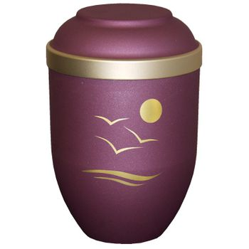 Bio-Tec³-Urne mit Motiv: SONNENUNTERGANG brombeer matt mit Golddeckelrand: 280 mm, ø = 185 mm 001