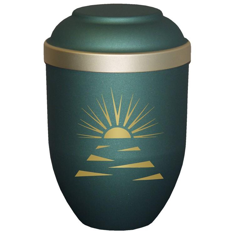 Bio-Tec³-Urne mit Motiv: SONNENSTRAHLEN grün matt mit Golddeckelrand: 280 mm, ø = 185 mm
