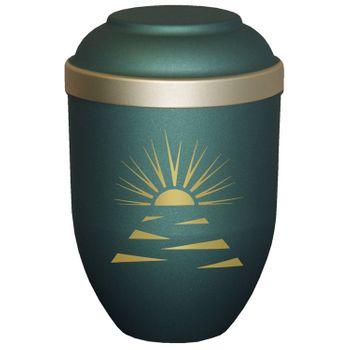 Bio-Tec³-Urne mit Motiv: SONNENSTRAHLEN grün matt mit Golddeckelrand: 280 mm, ø = 185 mm 001