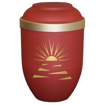 Bio-Tec³-Urne mit Motiv: SONNENSTRAHLEN ahorn matt mit Golddeckelrand: 280 mm, ø = 185 mm 001