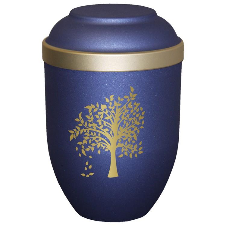 Bio-Tec³-Urne mit Motiv: BAUM blau matt mit Golddeckelrand: 280 mm, ø = 185 mm