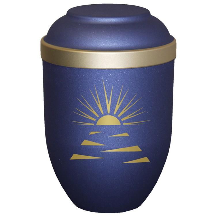 Bio-Tec³-Urne mit Motiv: SONNENSTRAHLEN blau matt mit Golddeckelrand: 280 mm, ø = 185 mm