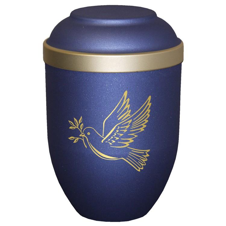Bio-Tec³-Urne mit Motiv: TAUBE blau matt mit Golddeckelrand: 280 mm, ø = 185 mm
