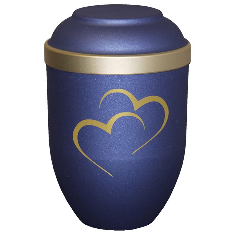 Bio-Tec³-Urne mit Motiv: HERZEN blau matt mit Golddeckelrand: 280 mm, ø = 185 mm