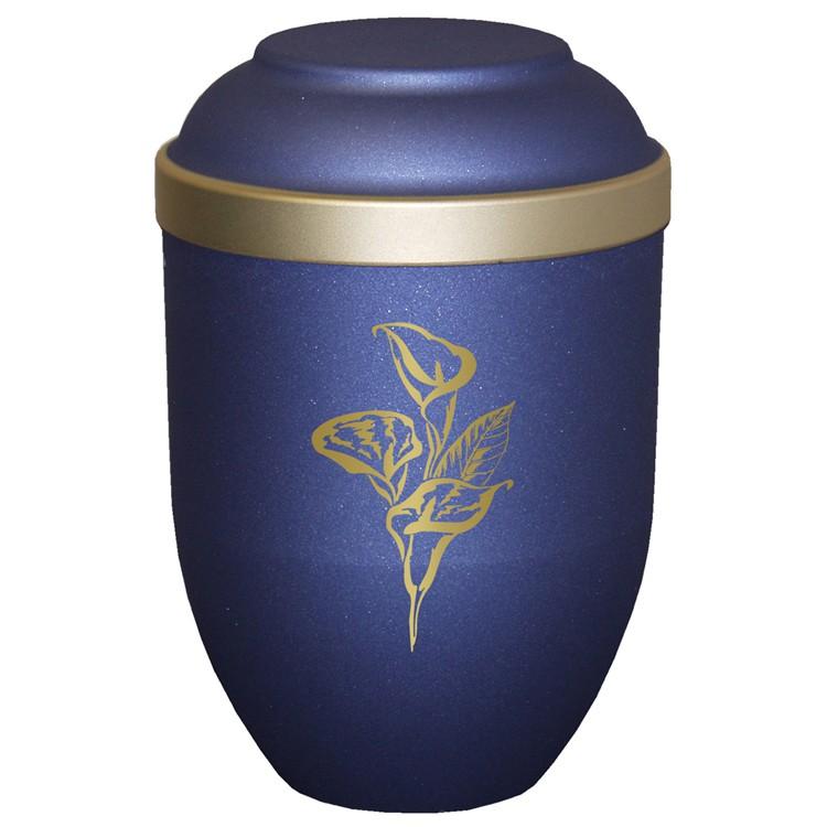 Bio-Tec³-Urne mit Motiv: CALLA blau matt mit Golddeckelrand: 280 mm, ø = 185 mm
