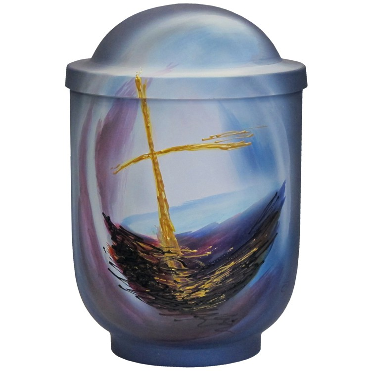 Designer-Urne KREUZ mit Kuppeldeckel: 290 mm, ø = 195 mm