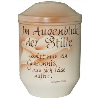 Designer-Urne handkalligrafiert IM AUGENBLICK DER STILLE pastellfarben: 266 mm, ø = 183 mm 001