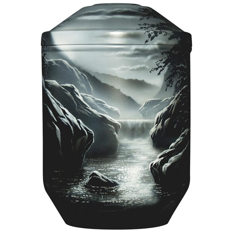 Designer-Urne Black Edition WASSERFALL : 266 mm, ø = 183 mm