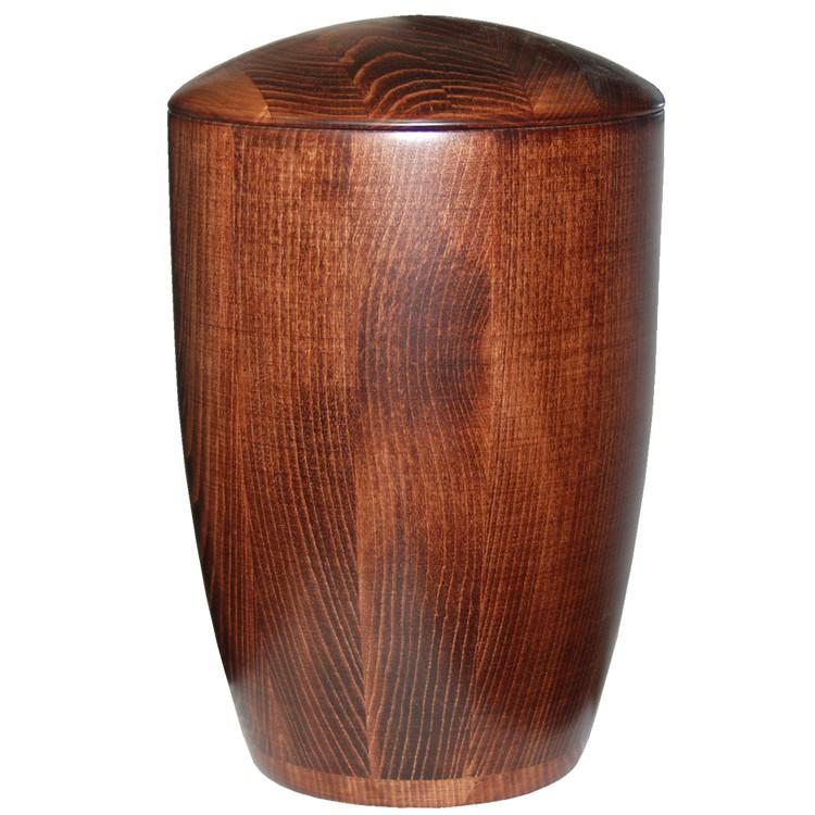 Holz-Urne Buche mahagonifarbig moderne Form: 300 mm, ø = 195 mm