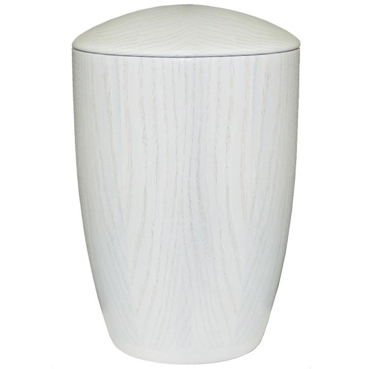 Holz-Urne Eiche weiß gekalkt moderne Form: 300 mm, ø = 195 mm