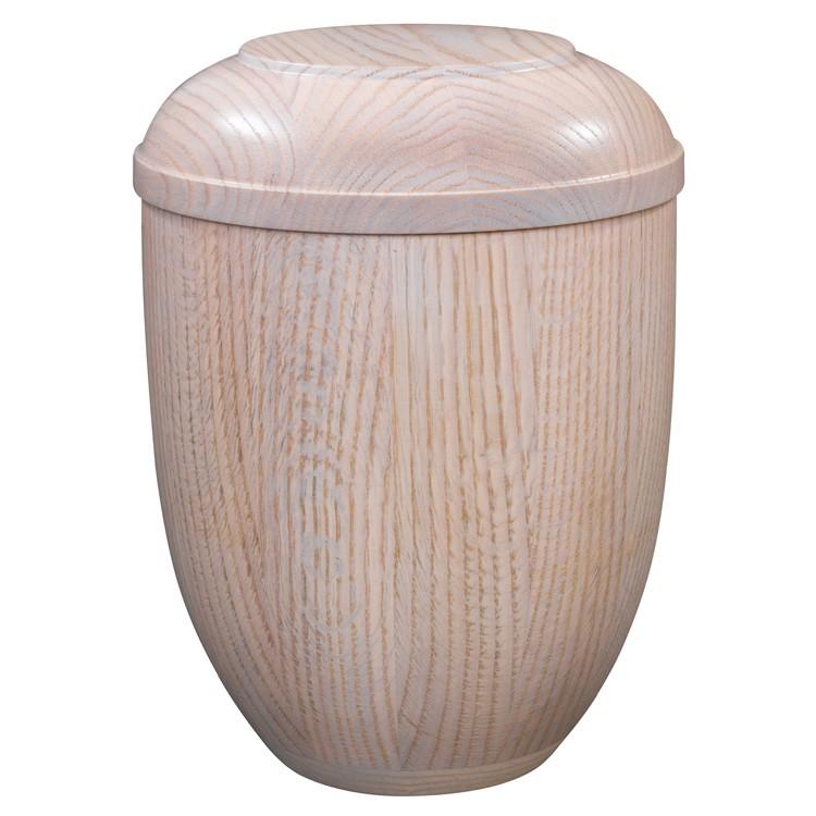 Holz-Urne Eiche weiß gekalkt: 292 mm, ø = 218 mm