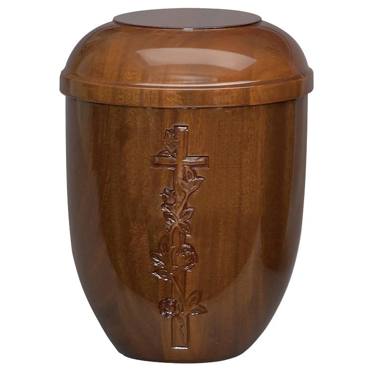 Holz-Urne Sapelli hochgl. mit Kreuz-Emblem: 292 mm, ø = 218 mm
