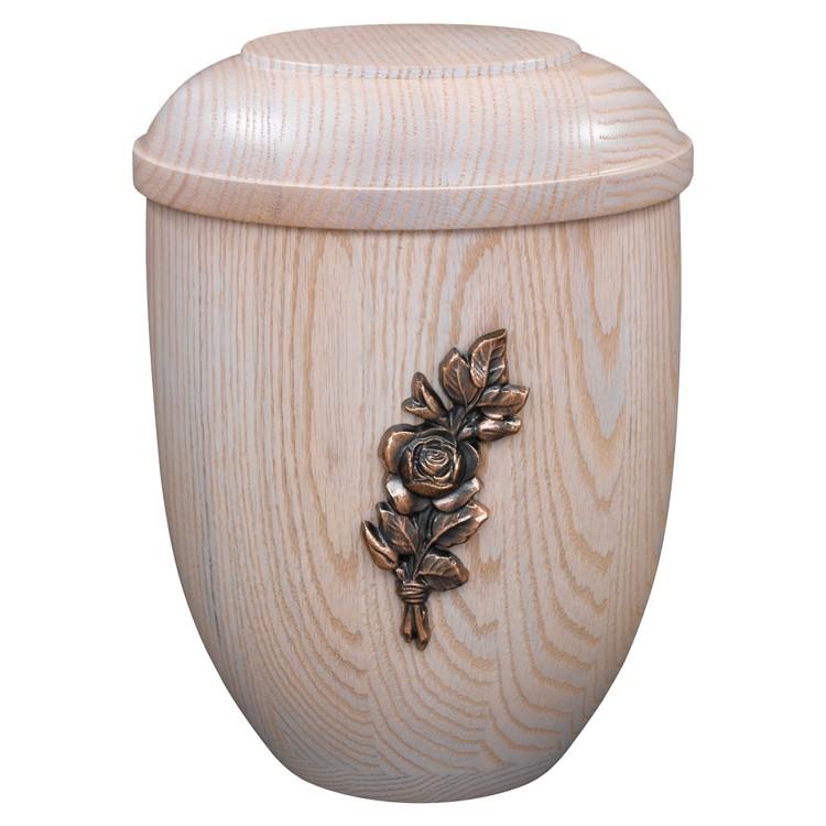 Holz-Urne Eiche weiß gekalkt mit Rosenstrauß-Emblem: 292 mm, ø = 218 mm