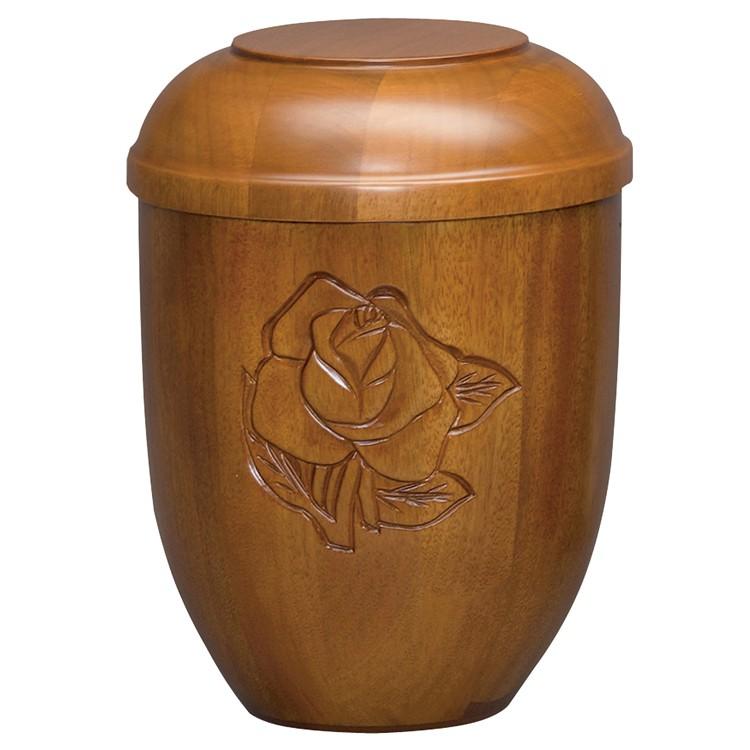 Holz-Urne Mahagoni matt m. Rosen Schnitzung (gr.): 292 mm, ø = 218 mm