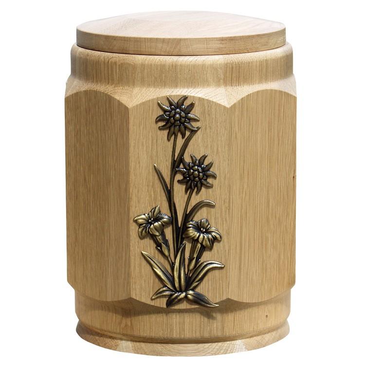 Holz-Urne Eiche natur gedrechselt achteckig mit Edelweiß-Emblem: 308 mm, ø = 238 mm
