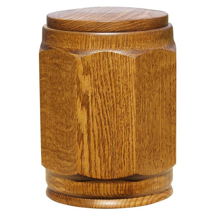 Holz-Urne Eiche rustikal gedrechselt achteckig: 308 mm, ø = 238 mm