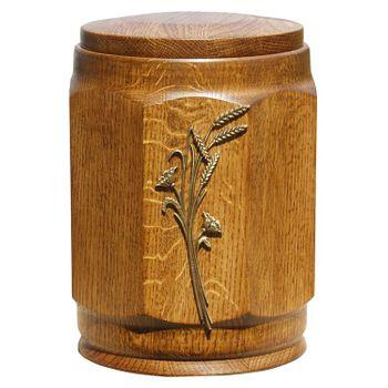 Holz-Urne Eiche rustikal gedrechselt achteckig mit Ähren-Emblem: 308 mm, ø = 238 mm 001
