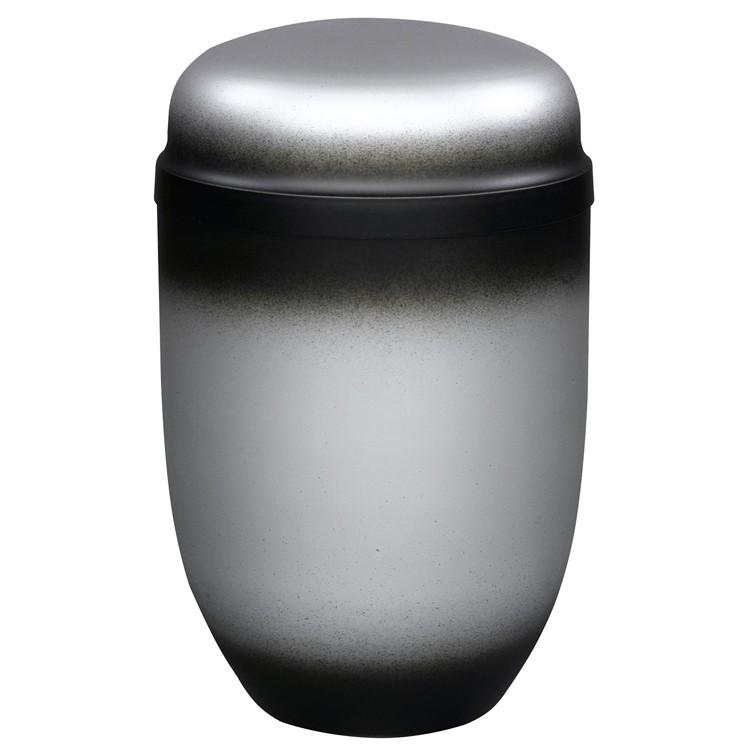 Edelplatal-Urne aus Stahl zinnfarbig: 276 mm, ø = 182 mm