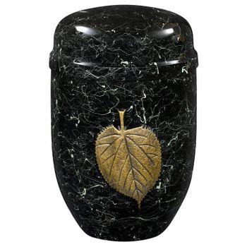 Edelplatal-Urne aus Stahl grün patiniert hochglänzend mit Lindenblatt-Emblem: 276 mm, ø = 182 mm 001