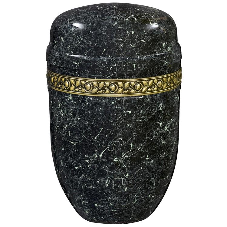 Edelplatal-Urne aus Stahl grün patiniert hochglänzend mit Rosen-Dekorband: 276 mm, ø = 182 mm